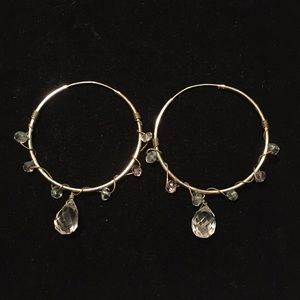 Sterling Silver Hoop Earrings with Crystals